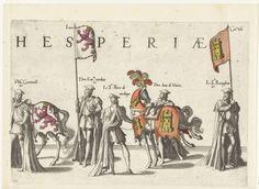 Joannes van Doetechum (I)   Deel van de optocht, nr. 20, Joannes van Doetechum (I), Lucas van Doetechum, Hieronymus Cock, 1559   Vijf deelnemers aan de optocht, paarden en de vaandels met de wapens van Castilla en León. Onderdeel van de prentreeks van de Begrafenisoptocht van keizer Karel V op 29 december 1558 te Brussel.