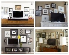 photo gallery behind tv- I want to do this with my computer monitor, wall-mounted in the bedroom.
