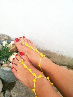 Yellow  wooden beads macrame Foot jewelry Anklet by ArtofAccessory, $15.00