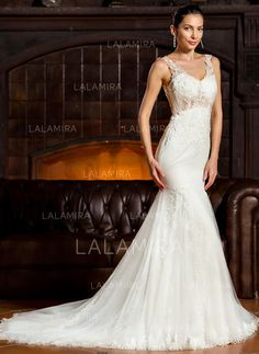 985e4325 [US$ 352.99] Sweetheart Trumpet/Mermaid Wedding Dresses Tulle Lace  Sleeveless Sweep Train