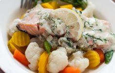 Łosoś z sosem śmietanowo-koperkowym Potato Salad, Potatoes, Chicken, Meat, Ethnic Recipes, Potato, Cubs