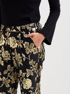Glansiga mönstrade byxor | VILA