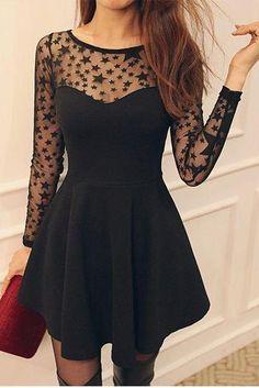 little black star dress Pretty Outfits, Pretty Dresses, Beautiful Dresses, Cute Outfits, Dress Skirt, Dress Up, Skater Dress, Look Fashion, Fashion Outfits