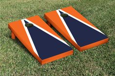 Orange & Navy Blue Triangle Cornhole Boards Game Set (Matching Version 1)