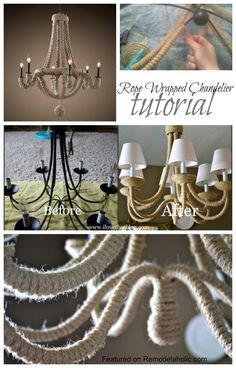 Rope Wrapped Chandelier Tutorial #lighting #DIY
