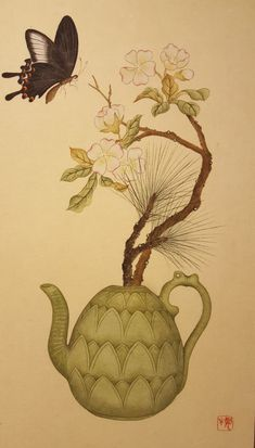 Korean Art, Asian Art, Decoupage, Korean Traditional, Traditional Paintings, Art Club, Chinese Style, Illustration, Folk Art