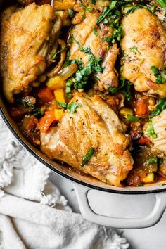 Ratatouille Baked Chicken takes a classic French dish and turns it into a family-friendly comfort food dish loaded with veggies. #chicken #Ratatouille #skinnytaste Stew Chicken Recipe, Baked Chicken Recipes, Skinny Chicken Recipes, French Chicken Recipes, Keto Chicken, Healthy Chicken, Weigt Watchers, Cooking Recipes, Chinese Recipes