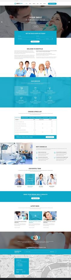 MedyPlus is clean and modern design PSD template for #dental #clinics website with 7 homepage layouts and 24 layered PSD pages to live preview & download click on Visit