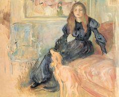 'Girl with Greyhound' (1893) Berthe Morisot (1841 - 1895)
