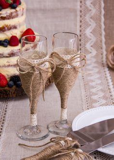 Rustic Wedding Toasting Glasses Rustic Toasting Flutes Twine