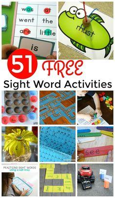 51 FREE Sight Words Games and Activities to help preschool, prek, kindergarten, first grade, and 2nd grade kids practice reading.