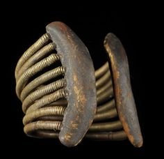 Africa | Arm bangle from the Pokomo peoples of Kenya. | Copper and leather.