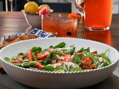 "Spinach and Strawberry Salad with Warm Bacon Vinaigrette (Just Me and My Boys) - Valerie Bertinelli, ""Valerie's Home Cooking"" on the Food Network."