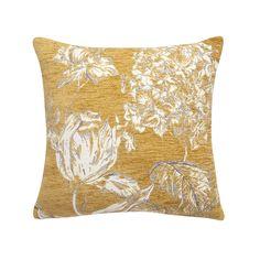Chenille Ochre Floral Cushion   Dunelm