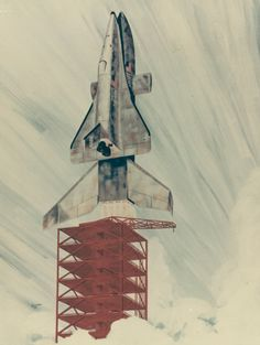 1972 NASA concept art shows an early space shuttle concept on the launch pad. This was the fully reusable design, including a very large winged manned booster which would carry a smaller winged manned orbiter. Both craft could fly again.