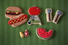 Hand Decorated Sugar Cookies Summer BBQ themed