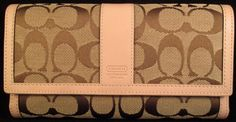 Coach Ladies Wallet (Women's Pre-owned Signature Envelope Brown & Pink Leather Checkbook Wallet)