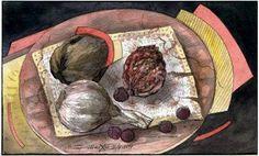 "Victor Shmokhin.  ""Натюрморт на круглой доске"" Бумага/акварель  11,5х19,0  1994.г. (№ 812)."
