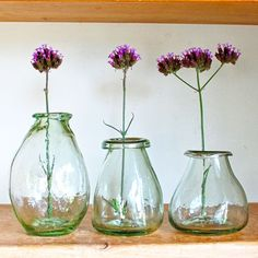 Trio Of Vases | Set of 3 Recycled Glass Vases from Hen and Hammock