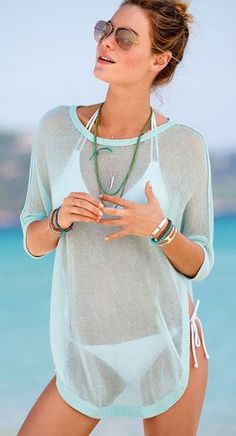 Sexy Aqua Blue See-Through Solid Color Half Sleeve T-Shirt Beach CoverUp