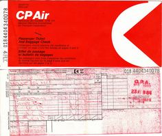 CP Air passenger ticket and baggage check for flight between Amsterdam and Bristol England in September 1984. This portion was unused. It was all part of a crazy scheme of travelling from Vancouver to Australia by first visiting Europe. These sort of Travel in Europe Pacific Airlines, Bristol England, Airline Tickets, Passport, Vancouver, Amsterdam, Travelling, Wallets, September
