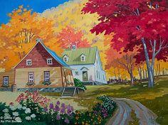 "Louise Martineau - "" Chez ma mère "" Scenery Paintings, Colorful Paintings, Beautiful Paintings, Watercolor Paintings, Z Arts, Autumn Art, Naive Art, Fabric Art, Art Techniques"
