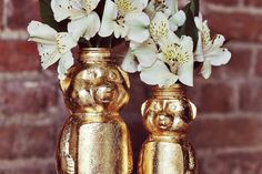 This honey bear got a gold leaf upgrade.   33 Impossibly Cute DIYs You Can Make With Things From Your Recycling Bin