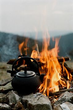 Iron kettle by the camp fire