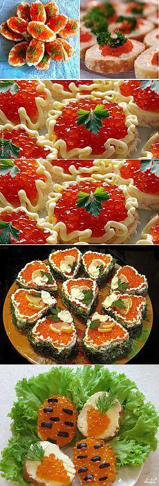 Бутерброды с икрой (идеи оформления) | Кладовочка идей