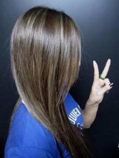 Light blonde highlights in dark chocolate brown hair