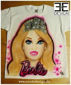 "Customized ""BARBIE"" Airbrush T-shirt, Fanart by E&E DESIGN GbR, 54292 Trier www.eundedesign.com www.facebook.com/eundedesign www.instagram.com/eundedesign #airbrush #airbrushart #barbie"