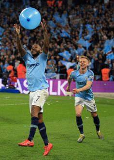 Raheem Sterling of Manchester City tussles with Oleksandr Zinchenko. Manchester City Wallpaper, Vincent Kompany, Zen, Raheem Sterling, Premier League Champions, City Boy, Wembley Stadium, Soccer Players, London England
