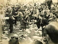8th May 1945: Policemen, soldiers and women dancing in the street at Rainbow Corner, Piccadilly http://www.retronaut.com/2013/09/policemen-soldiers-women-dancing-street-rainbow-corner-piccadilly/