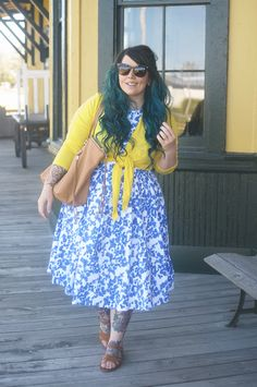 Dolly and Dotty dress, Stitch Fix cardigan, Elizabeth and James sunglasses, Rebecca Minkoff purse, Steve Madden sandals