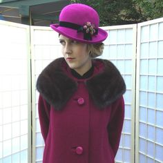 Vintage 60's Rose Magenta Coat Mink Collar . Wide Chocolate Fur . Nubby Woven Wool Winter Jacket . Shimmering Satin Lining .SYCAMORE label