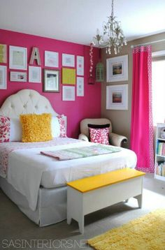 yellow girls room | Pink, white, canary yellow combo