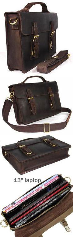 """Vintage Handmade Crazy Horse Leather Briefcase / Messenger Satchel / 13"""" MacBook 13"""" Laptop Bag"""