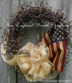 Americana Wreath, Patriotic Wreath, Fourth of July Wreath, Primitive, Rustic, Tea Stained Flag