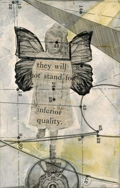 """Laura Tringali Holmes. """"Girl on Unicycle and Tightrope,"""" paper collage with image transfer and mixed media."""