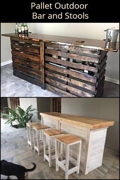 DIY Pallet Outdoor Bar and Stools Improve your outdoor space by turning pallets into an outdoor bar and stools! The post DIY Pallet Outdoor Bar and Stools appeared first on Outdoor Ideas. Pallet Furniture Bar Stools, Diy Bar Stools, Used Outdoor Furniture, Kitchen Stools, Repurposed Furniture, Kitchen Furniture, Rustic Furniture, Modern Furniture, Antique Furniture