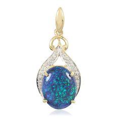 A saisir ! Mise en vente à 19h de ce superbe pendentif serti d'une Opale noire de Lightning Ridge de 3,7 ct et de Diamants SI montés sur or 18K - Juwelo Télé-Achat