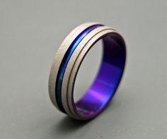 One Step Forward - Titanium Wedding Bands. $150.00, via Etsy. #ring #jewelry