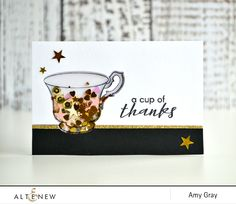 Create a fun shaker card focusing on the teacup and make it look gorgeous with sequins. http://altenewblog.com/2016/11/25/stamp-focus-vintage-teacup/