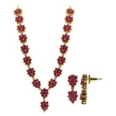 Gold Plated Simulated Ruby Indian Ethnic Flower Necklace Earrings Set