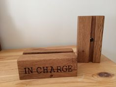 Solid oak charging dock. Perfect gift idea and, like all our products, can be personalised. Available from www.holderandhook.co.uk