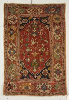 """Transylvanian"" Rug, West Anatolia, 17th century, 6 ft. 5 in. x 4 ft. 4 in. Estimate $8,000-10,000"