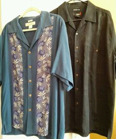 LOT OF 2: Mens Hip Silk Retro Hawaiian Lounge Short Sleeve Shirts. SZ Large  #UtopiaIslandRepublic #HawaiianLounge