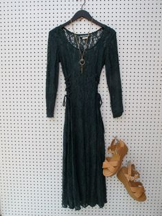 lace / evergreen / 90s maxi dress by dryvintageandthrift on Etsy, $55.00
