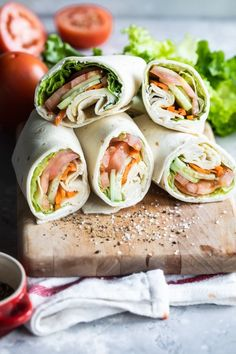 The Ultimate Veggie Wrap has herbed cream cheese, Havarti, and lots of fresh vegetables! Best of all, make it ahead for an easy lunch option. Good Healthy Recipes, Unique Recipes, Whole Food Recipes, Ethnic Recipes, Health Recipes, Delicious Recipes, Vegetarian Wraps, Vegetarian Recipes, Vegetarian Sandwiches