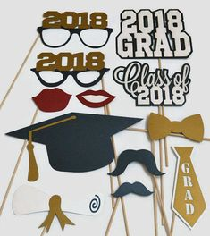 Graduation Photo Booth Props Set of 12 Photobooth Props